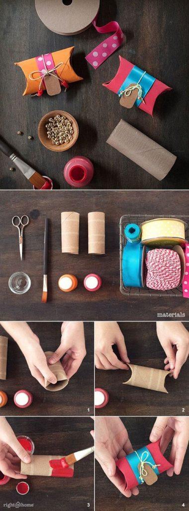 Con los rollo de papel se pueden hacer pequeñas y hermosas cajas de regalo.
