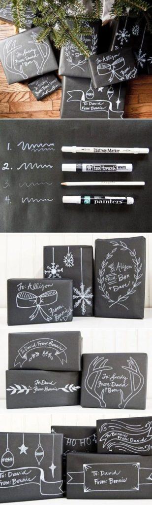 Con papel negro y marcadores de color blanco se pueden elaborar interesantes diseños que se verán elegantes y únicos.