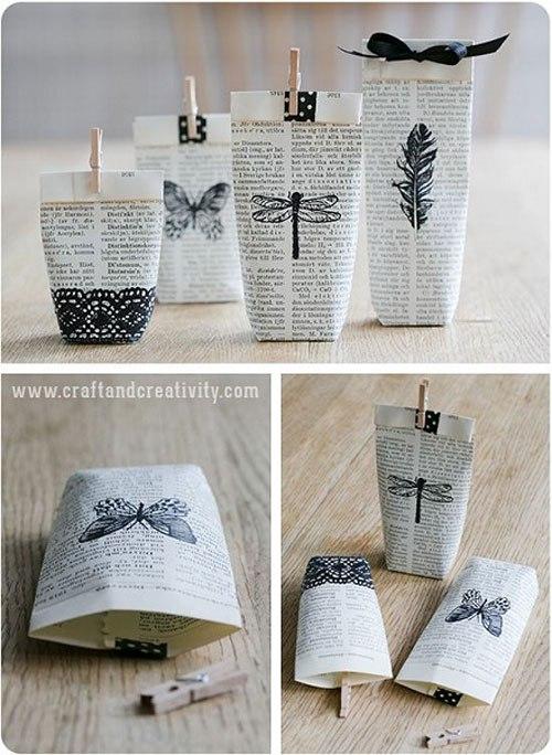 Preciosas bolsas de papel se pueden hacer con diarios, periódicos y revistas, quedará genial, es fácil de hacer y barato.