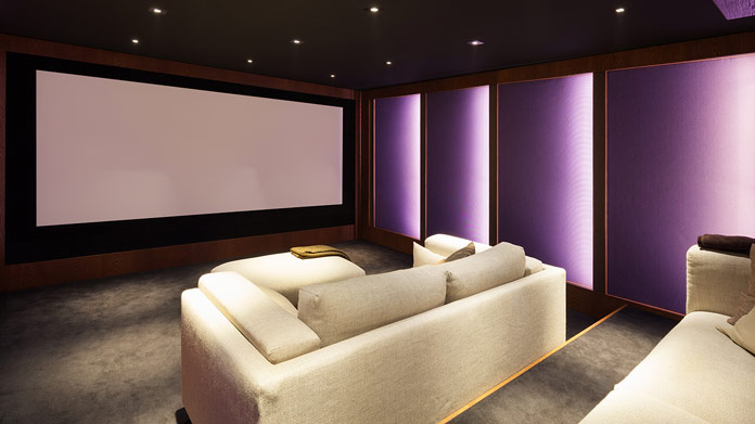 Imagen empresarial de instalación de cine en casa
